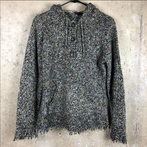 Tribal | Knit Fray Hem Hooded POP Over Sweater